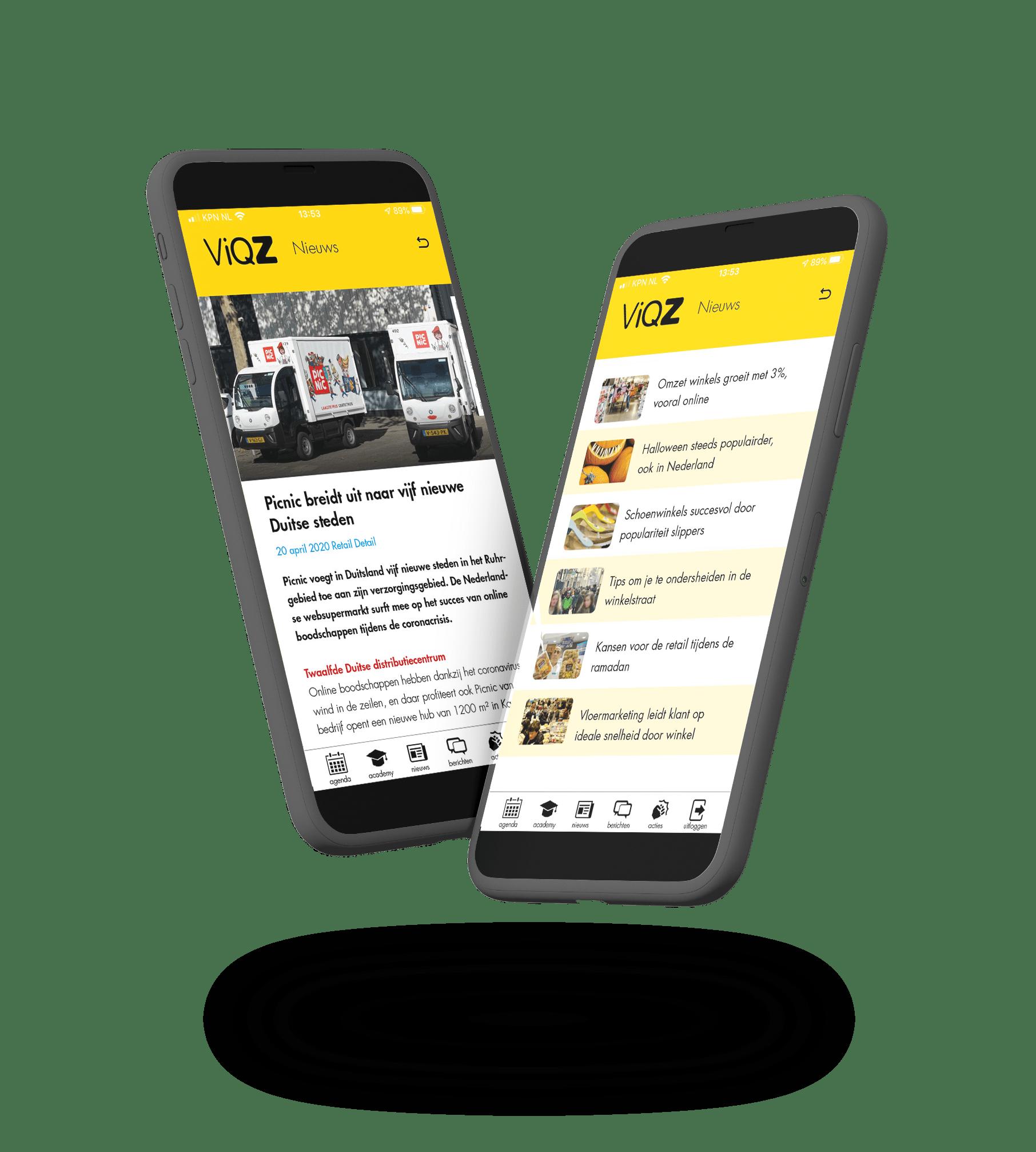 Afbeelding van de nieuws module van ViQZ, de complete applicatie voor organisaties met personeel.