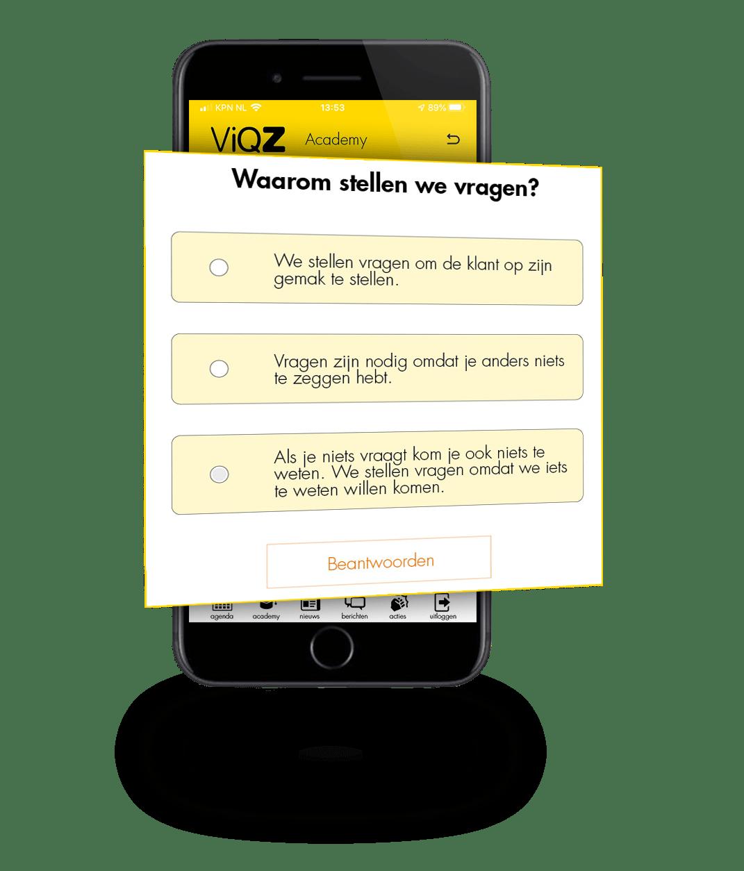 Afbeelding van de e-learning module van ViQZ Academy, de complete applicatie voor organisaties met personeel.