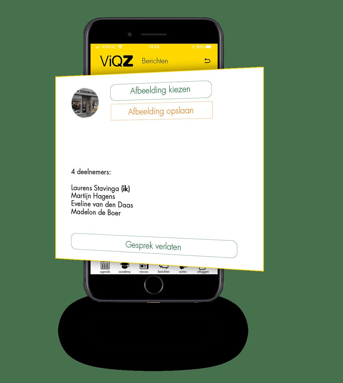 Afbeelding van de berichten module van ViQZ, de complete applicatie voor organisaties met personeel.