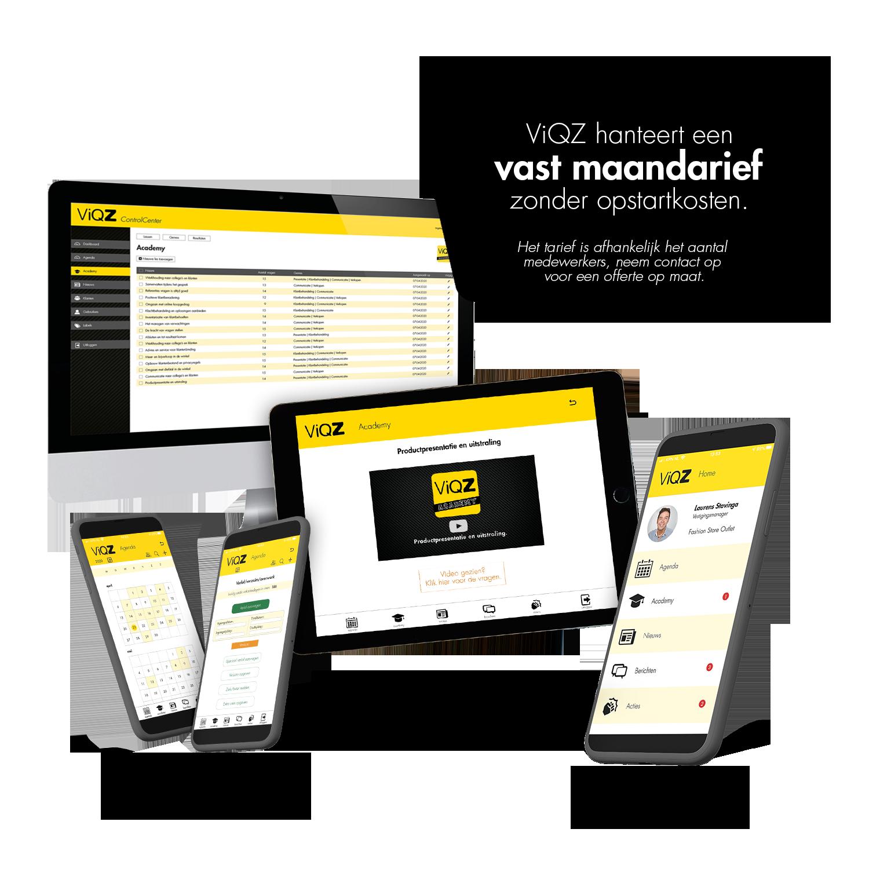 Een vast laag maandtarief voor ViQZ, de complete applicatie voor organisaties met personeel.