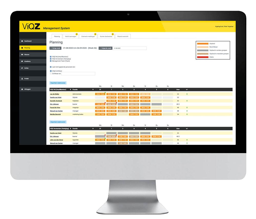 ViQZ planning in het ViQZ Management Syst